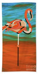 A Straight Up Flamingo Beach Towel