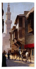 A Street In Cairo Beach Towel by Jean Leon Gerome