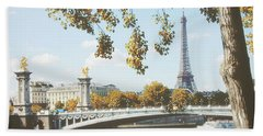 Beach Towel featuring the photograph A Stroll Along The River Seine In Paris by Ivy Ho
