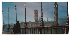 Beach Sheet featuring the painting An Evening Stroll Along The Thames  by Jean Walker