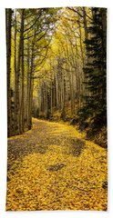 A Stroll Among The Golden Aspens  Beach Towel