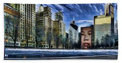 A Stylized Look At Chicago's Crown Fountain In The Winter Beach Towel