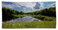 Beach Towel featuring the photograph A Summer Morning At The Bridge by David Patterson