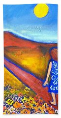 Beach Towel featuring the painting A Sunny Path by Winsome Gunning
