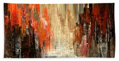 Beach Towel featuring the painting A Tale Of Two Cities by Tatiana Iliina