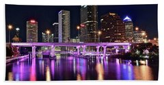 A Tampa Night Beach Towel by Frozen in Time Fine Art Photography