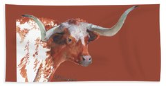 A Texas Longhorn Portrait Beach Towel