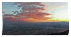 A Thunderstorm At Sunset Over Albuquerque, New Mexico Beach Towel