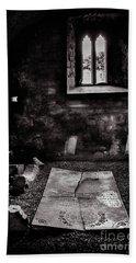 Beach Towel featuring the photograph A Tombstone In Sligo Abbey Bw by RicardMN Photography