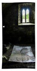 Beach Towel featuring the photograph A Tombstone In Sligo Abbey by RicardMN Photography