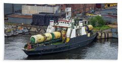 Beach Towel featuring the photograph A Train Ferry In St Petersburg Carrying Freight by Clare Bambers