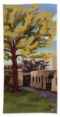 Beach Sheet featuring the painting A Tree Grows In The Courtyard, Palace Of The Governors, Santa Fe, Nm by Erin Fickert-Rowland