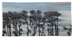Beach Sheet featuring the painting A Treeline Silhouette by Marilyn  McNish