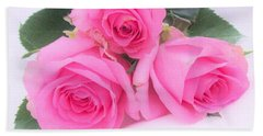 A Trinity Of Pink Roses Beach Sheet