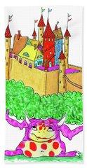 A Troll And Her Castle Beach Towel by Debra Baldwin