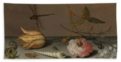 A Tulip, A Carnation, Spray Of Forget-me-nots, With A Shell, A Lizard And A Grasshopper, On A Ledge Beach Towel