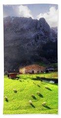 A Typical Basque Country Farmhouse With Sheep Beach Sheet