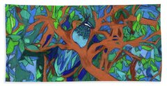Beach Towel featuring the painting A Very Pretty Peacock In A Pear Tree by Denise Weaver Ross