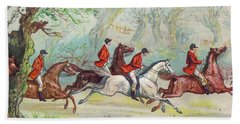 A Victorian Greeting Card Of Fox Hunters Racing By While The Fox Hides In A Tree Beach Towel