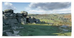 A View From Combestone Tor Beach Towel