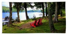 Beach Towel featuring the photograph A View Of Big Moose Lake by David Patterson