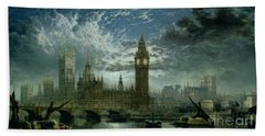 A View Of Westminster Abbey And The Houses Of Parliament Beach Towel