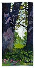 A View Through The Trees Watercolor Batik Beach Towel