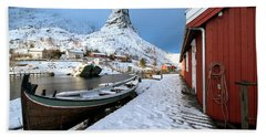Beach Towel featuring the photograph A Village Lofoten by Dubi Roman