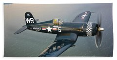 A Vought F4u-5 Corsair In Flight Beach Towel