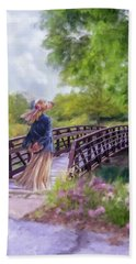 A Walk In The Garden Beach Towel by Mary Timman
