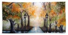 A Walk In The Park In Autumn - Wide Horizon Beach Towel