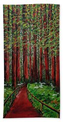 A Walk In The Redwoods Beach Towel by Mike Caitham