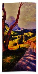 Beach Towel featuring the painting A Walk Through The Mountains by Emery Franklin