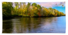 A Wide Scenic View Of Shetucket River. Beach Towel