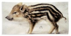 A Wild Boar Piglet Beach Sheet by Hans Hoffmann