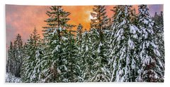 A Winters Sky Set Ablaze Beach Towel