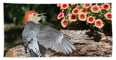 A Woodpecker Conversation Beach Sheet by Sheila Brown