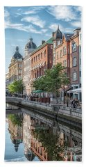 Beach Towel featuring the photograph Aarhus Afternoon Canal Scene by Antony McAulay