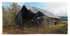 Abandoned Barn In Alsea Beach Towel by Judy Wanamaker