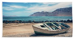 Abandoned Boat Beach Sheet by Delphimages Photo Creations