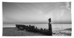 Abandoned Boat Sunset Bw Beach Towel
