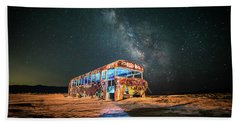 Abandoned Bus Under The Milky Way Beach Sheet