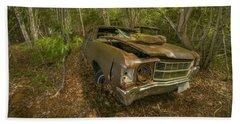 Abandoned Chevelle In Cape Breton Beach Sheet by Ken Morris