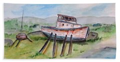Abandoned Fishing Boat Beach Sheet