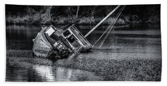 Abandoned Ship In Monochrome Beach Towel