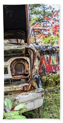 Beach Towel featuring the photograph Abandoned Truck With Spray Paint by Edward Fielding
