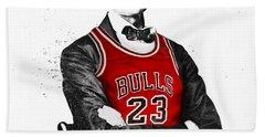 Abe Lincoln In A Michael Jordan Chicago Bulls Jersey Beach Towel