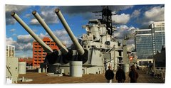 Beach Towel featuring the photograph Aboard The Uss Wisconsin by James Kirkikis