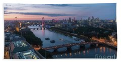 Above London Along The Thames At Dusk Beach Towel