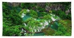 Above The Paths And Waterfalls At Plitvice Lakes National Park, Croatia Beach Sheet